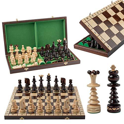 Master of Chess GENTLEMAN 50 x 50 x 3 cm Ajedrez de madera grande para adultos y niños tablero de ajedrez hecho a mano y piezas (50 x 50 x 3 cm borde blanco)