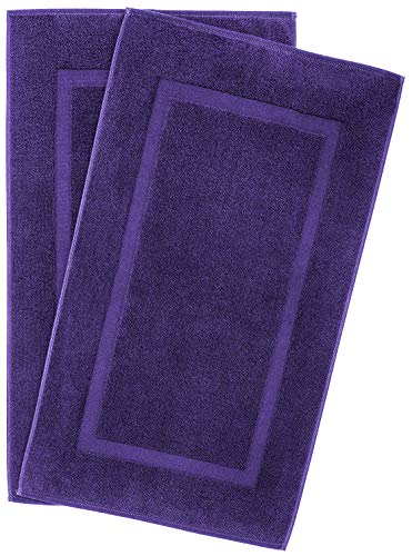 900 GSM Machine Washable 20x34 Inches 2-Pack Banded Bath Mats, Luxury Hotel and Spa Quality, 100% Ring Spun Genuine Cotton, Maximum Softness and Absorbency by United Home Textile, Violet Purple
