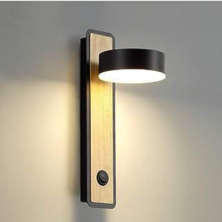 Applique Murale LED Appliques Luminaire Intérieur Bois Lampe de Mur pour Chambre Salon Bureau Couloir, Rotatif de 350 ° (N...