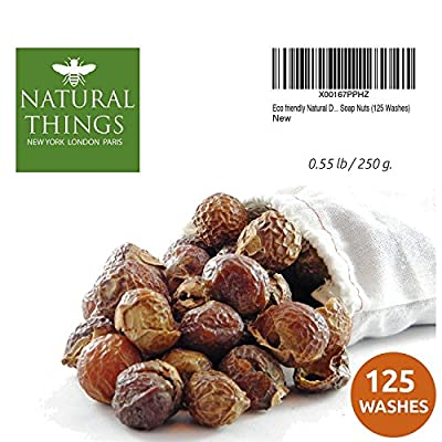 Eco friendly Organic Natural Detergent - Laundry Soap / Dishwashing Cleaner - Soap Nuts / Soap Berries (125 Loads). Premium Grade + Wash bag