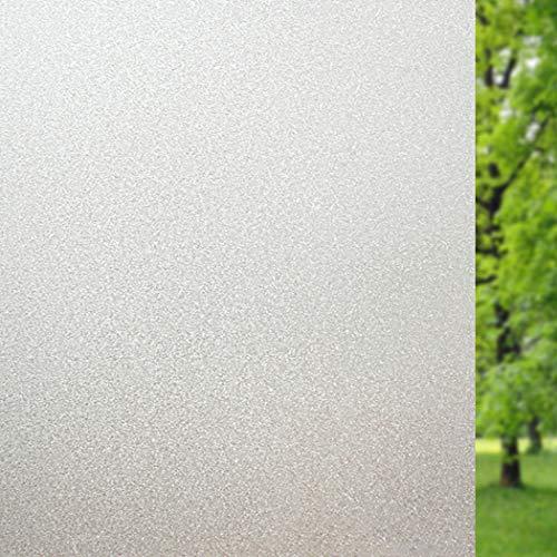 No/Brand Fensterfolie Milchglasfolie Sichtschutzfolie Selbstklebend Folie Fenster Scheibenfolie Blickdicht Statische Privatsphäre Schutzfolie Matt Für Bad, Büro, Wohnzimmer (Weiß, 90 x 200 cm)