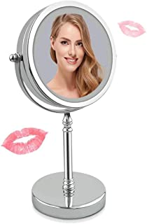 Makeup Mirror Double-Sided Lighted Makeup Mirror, Natural Soft LED Light with On/Off Push-Button 360 Degree Rotation Battery-Powered, for Home Travel
