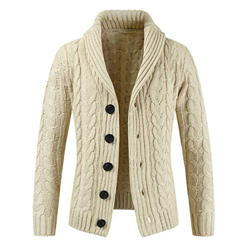 Coat Men's Cardigan Mens Lapel Comfortable Trendy Knitting Button Style Men's Jacket Autumn Winter New Warm Windproof Coat Long-Sleeve Business Casual Cardigan A-Beige XL