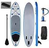Profun Tabla Hinchable Tabla de Surf Sup Set Stand Up Paddle Surf Board de 305CM*76CM*15CM Doble Capas con Paddle Ajustable+Bomba de Aire+Remo+Mochila (Tipo3 Azul)