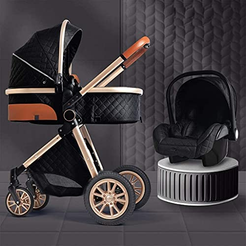DJRH 3 en 1 con asiento de automóvil, cochecito de bebé para recién nacido, cochecito liviano plegable de una mano con almohadilla de enfriamiento sombrilla cubierta de lluvia muesca mochila mosquiter