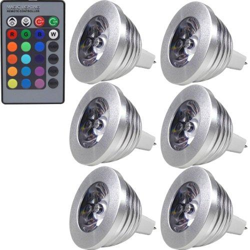MENGS 6 Stück 3W RGB LED Reflektorlampe MR16 LED Farbige Licht Leuchtmit RGB LED Leuchtmittel Dimmbar mit Fernbedienung, ersetzt 20W, 60° Abstrahlwinkel 180lm für Ambiente Party Deko