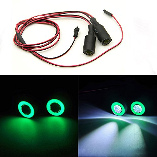 AXspeed 13mm 2Leds Yeux d'ange & Yeux démoniaques LED Phare Arrière Lumière pour 1/10 RC Car (Vert + Blanc)