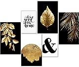 artpin® Moderne Poster Set - Bilder Wohnzimmer Deko Gold
