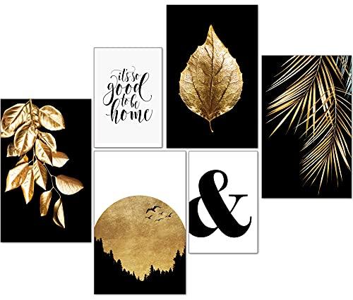 artpin® Moderne Poster Set - Bilder Wohnzimmer Deko Gold Schlafzimmer - Goldene Blätter Palmblatt 4X A4 | 2X A5 - W7