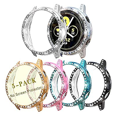 Case Compatible with Galaxy Watch Active 40mm Smartwatch PC Protective Cover Women Girl Bling Crystal Diamonds Shiny Rhinestone Bumper Watch Case