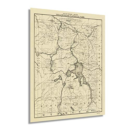 HISTORIX Vintage 1900 Yellowstone National Park Map of the Tourist Routes Poster - 18x24 Inch Vintage Map of Yellowstone Wall Art - From United States Office of the Chief of Engineers (2 Sizes)