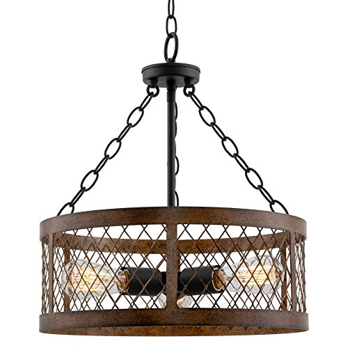 "Kira Home Warwick 16"" Modern Rustic 3-Light Chandelier + Wood Style Metal Lattice Shade, Black Accents + Walnut Style Finish"
