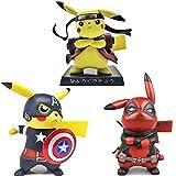 GBHF 3 Piezas 14Cm Pokemon Figuresmodel Adorno Pikachu Cos Uzumaki Naruto Capitán América Deadpool, Figura De Anime Juguetes para Niños Regalo Divertido