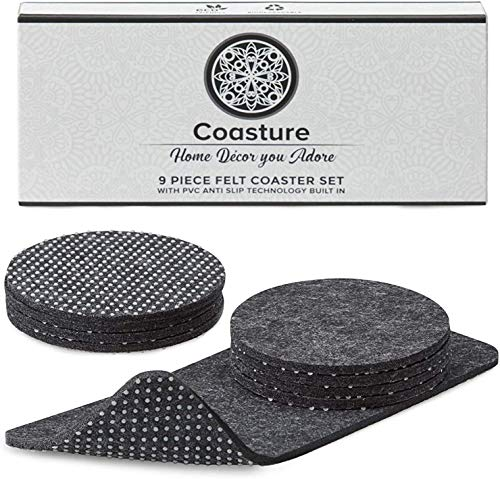 Coasture - 9 Absorbent Felt Coasters for Drinks with Multipurpose Holder - PVC Anti Slip Dot Backing - Drink Coaster Set - Coasters for Home & Office Housewarming Gift (Light Grey, Round)