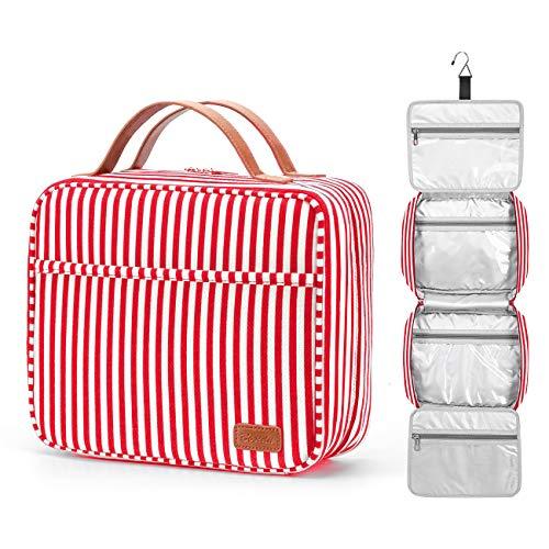 Kulturbeutel, zum Aufhängen, große Kapazität Reise Kulturtasche wasserdichte Kosmetiktasche Make-up-Organizer mit 4 Fächern und 1 Stabilen Haken für Damen/Herren Red & White Striped Large