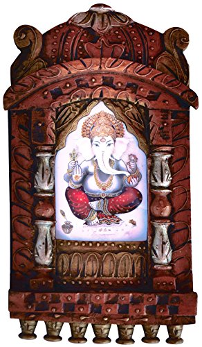 Lord Ganpati Ganesha Poster Framed in Wood Craft Jharokha, A Hand Made Wood Craft Jharokha, Must for Religious, Gift, Home Decoration and Pooja Purpose