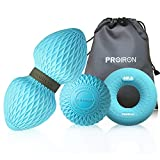 PROIRON Massage Ball Set Nested for Myofascial Release, Deep Tissue&Trigger Point Therapy-Lacrosse/Peanut Balls Muscle Neck Back Foot Massage&Hand Grip Strengthener Ring Forearm. 100% Silicone (Blue)