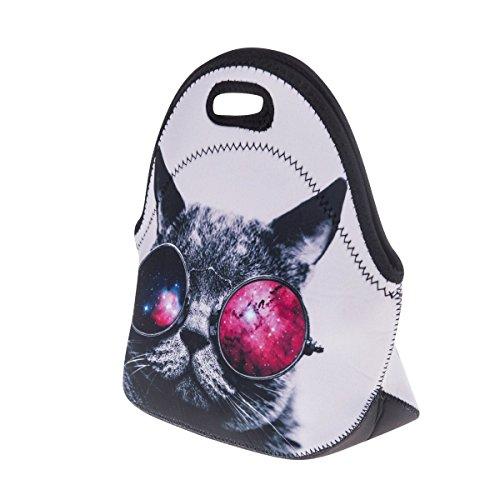 Ferocity Isolierte Lunch Tasche mit Reißverschluss Mittagessen Beutel Nahrungsmittelhandtasche Galaxis Sonnenbrille Katze Galaxy Sunglasses Cat [048]