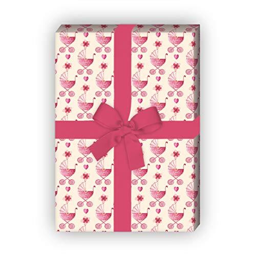Kartenkaufrausch schattig geschilderd baby cadeaupapier set met kinderwagen, roze, voor mooie cadeauverpakking 32 x 48 cm, 4 vellen voor verjaardagen, bruiloft, kerstgeschenken, decoratief papier