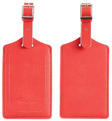 Travelambo Leather Luggage Bag Tags (Classic Red)