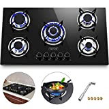 Happybuy 36x21 inches Built in Gas Cooktop 5 Burners Gas Stove Cooktop Tempered Glass Cooktop Gas Hob With Liquid...