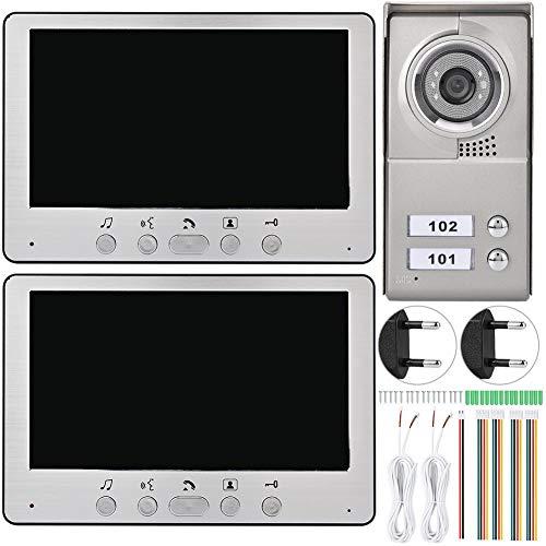 Video-deurbel, metalen buitenmachine smart-deurbel met twee 7 inch TFT-LCD-display, waterdicht, nachtzicht, goed voor thuis, hotel en kantoor EU.