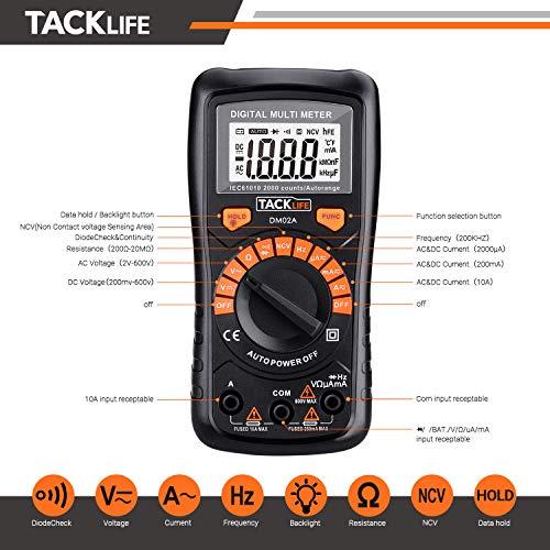 Multímetro Digital, Tacklife DM02A Polimetro autorango-2000 counts polimetro Rango...