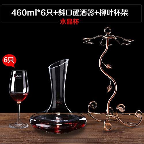 Huishoudelijke loodvrije kristallen wijnglas beker van rode wijnglazen van champagne kleur Europese wijnbeker houder, Afmetingen: 460 * 6,0 kristallen decanters schuine mond beker houder wilg
