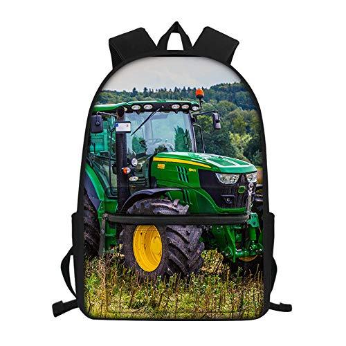 Print Large Agricultural Tractor, Green Tractor School Bag, Kindergarten schoolbags, Children's schoolbags, Youth Laptop Backpacks