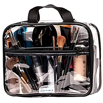 Clear Toiletry Bag - PVC Makeup Bag - Large Transparent Cosmetic Travel Case - See Through Packing Cube with Handle - Clear Bag with Zipper - Plastic Storage Pouch for Women