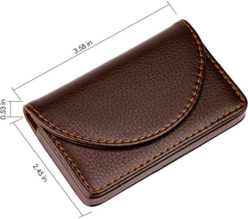 MaxGear Leather Business Card Holder Case for Men or Women Name Card Case Holder with Magnetic Shut Coffee, Holds 25 Business Cards