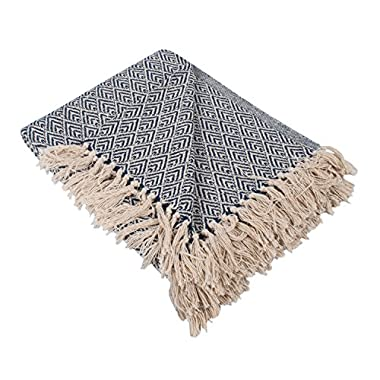 DII Rustic Farmhouse Cotton Diamond Blanket Throw with Fringe For Chair, Couch, Picnic, Camping, Beach, Everyday Use, 50 x 60 - Diamond Nautical Blue