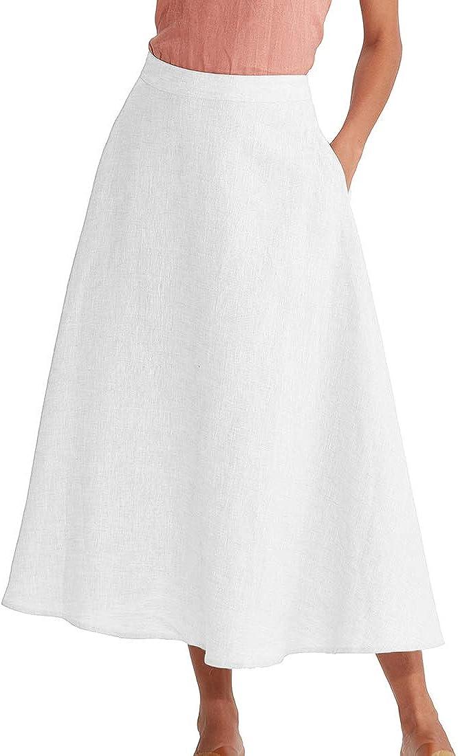 Amazhiyu Women's Linen High Waist Maxi Skirt with Pockets Summer Casual Flared Long A-line Skirt