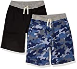 Amazon Essentials Kids Boys Pull-On Woven Shorts, 2-Pack Blue Camo/Black, Small