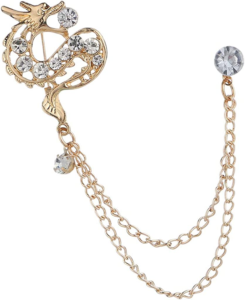 menolana Men's Crystal Dragon Hanging Chain Brooch Pin Lapel Shirt Tuxedo Suit Decor