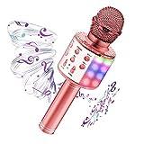 Microfono Karaoke con luci LED, 4 in 1 Microfono Bluetooth Wireless per Bambini con Altoparlante e Registrazione, Home Party Speaker Bluetooth Portatile, Compatibile con Android/IOS/PC/Smartphone