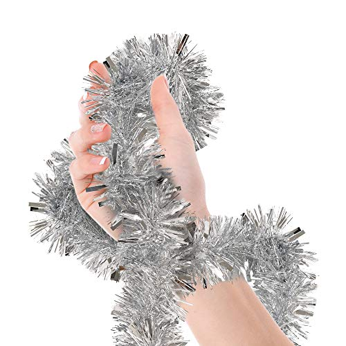 Christmas Tree Silver Tinsel Garland Wide Cut Metallic Streamers Celebrate a Holiday Happy New Year Party Ceiling Hanging Decorations Indoor and Outdoor Disco Party Supplies