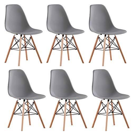 AINPECCA Eiffel Esszimmerstühle aus Kunststoff mit massiven Buchenholzbeinen (dunkelgrau, 6)