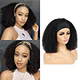 IFLY Echthaar Perücke Human Hair Headband Wigs for Black Women 14 Inch Afro Kinky Curly Human Hair Wigs Non Lace Front Wig Brizilian Virgin Hair 150% Density Wigs Natural Color
