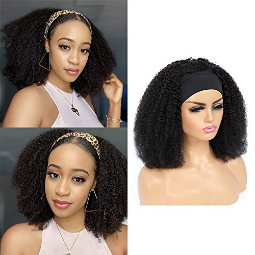IFLY Echthaar Perücke Human Hair Headband Wigs for Black Women 18 Inch Afro Kinky Curly Human Hair Wigs Non Lace Front Wig Brizilian Virgin Hair 150% Density Wigs Natural Color