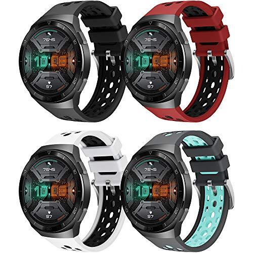 YASPARK Compatible con Huawei Watch GT 2e Correa, Silicona Pulsera Deportiva reemplazo Diseño de Dos Colores Correa para...