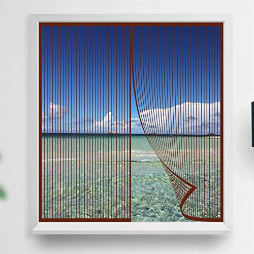 YIFANDU Cortina Mosquitera Magnetica 100x110cm Adsorción Magnética Plegable Mosquiteras Puerta Magnética Dejar Pasar el Aire Fresco para Ventanas, Marrón