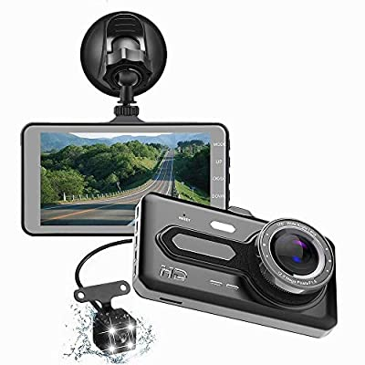 CHEZAI Mirror Dash Cam,Dual Lens 4 Inch 1080P HD Touch Screen Recorder, with Night Vision,G-Sensor,Loop Recording,Motion Detection and Parking Monitor from SPRIS