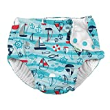 i play. by green sprouts Boys' Reusable Swim Diaper, Aqua Wavy Nautical, 24mo