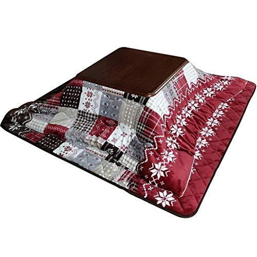 AILI Japanischer Kotatsu-Tisch mit Heizung und Decke Tröster Massivholz Square Große Futon-Kaffeetabelle (Color : Red)