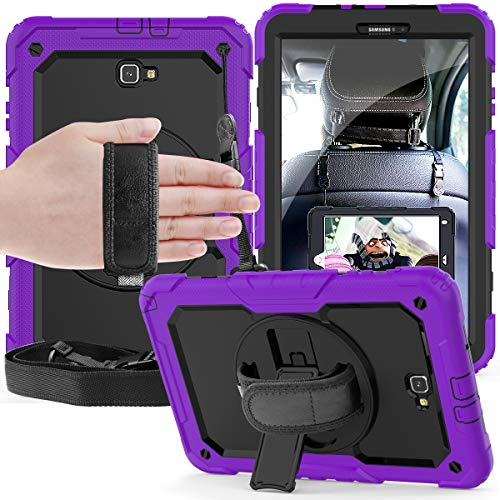 Samsung Galaxy Tab A 10.1 inch Case 2016 with Built-in Screen Protector/ 360 Degree Swivel Stand/Hand Strap SM-T580, 3 Layer Shockproof Silicone Tablet Cover for Galaxy Tab A 10.1''. (Purple+black)