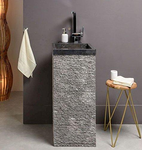wohnfreuden Marmor Stand-Waschbecken Säule KOTAK 40x40x90 cm rechteckig schwarz gehämmert