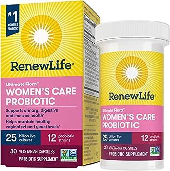 Renew Life Women s Probiotics 25 Billion CFU Guaranteed 12 Strains Shelf Stable Gluten Dairy & Soy Free 30 Capsules Ultimate Flora Women s Care