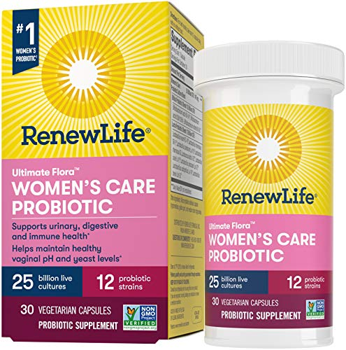 Renew Life #1 Women's Probiotics 25 Billion CFU Guaranteed, 12 Strains, Shelf Stable, Gluten Dairy & Soy Free, 30 Capsules, Ultimate Flora Women's Care - 60 Day Money Back Guarantee