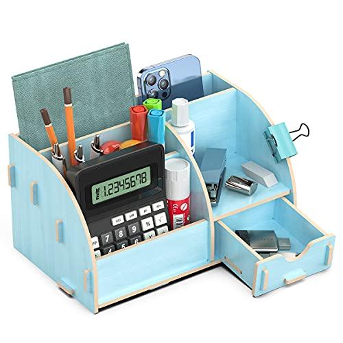 Lesfit Schreibtisch Organizer Holz, Büro Tisch Organizer für büroartikel, Stifte (Blau)